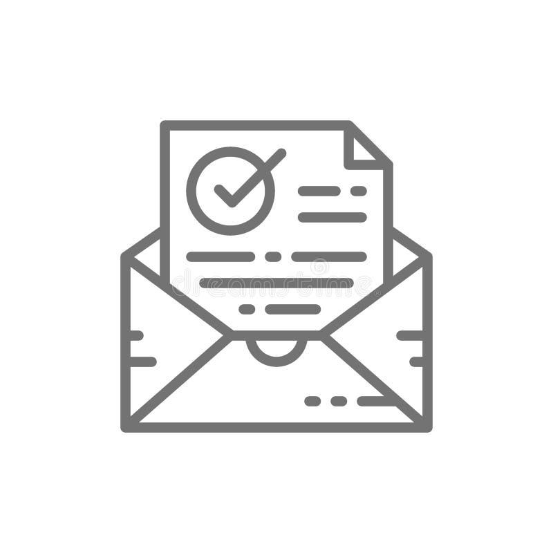 Lettre de confirmation, vérifiée, enveloppe avec le document et coche, la livraison réussie d'email, ligne icône de vérification illustration stock