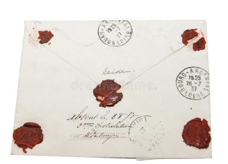 Lettre de cru avec le sceau de cire image libre de droits