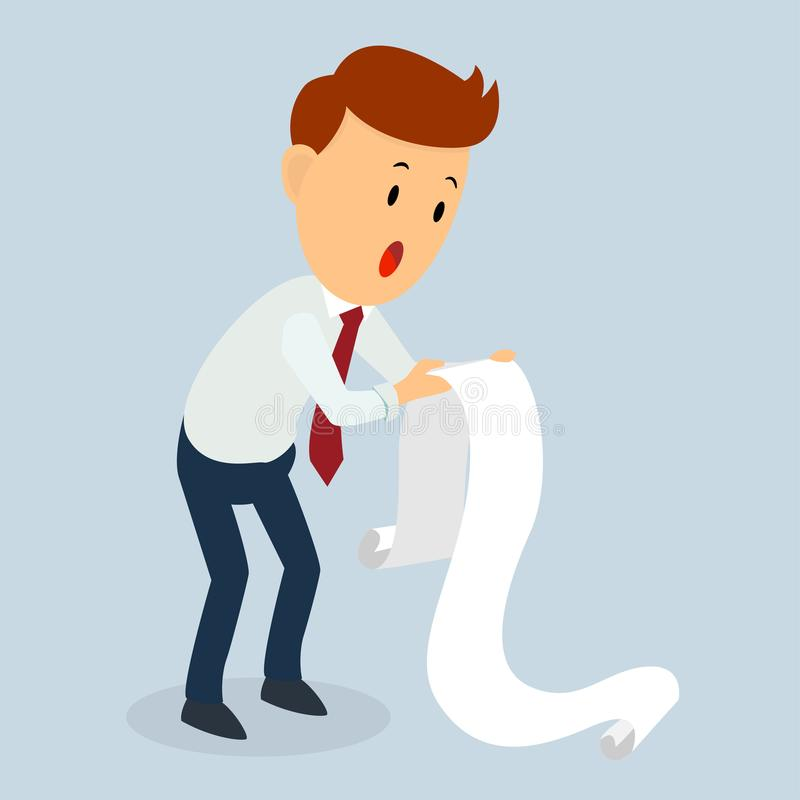 Lettre de dette de prise choquée par homme d'affaires illustration stock