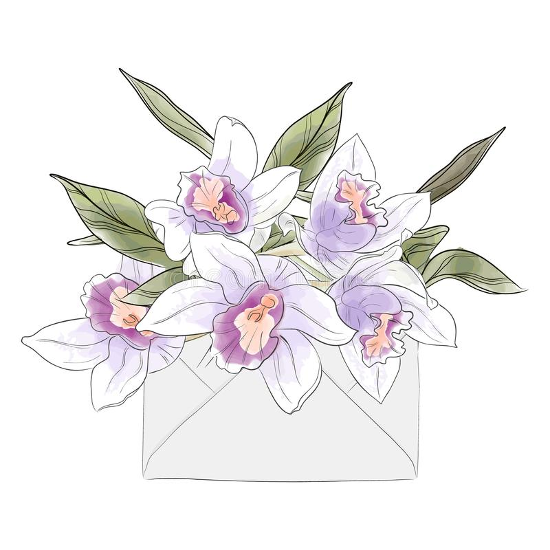 Lettre de fleur avec des orchidées d'aquarelle Invitation tirée par la main élégante de vecteur Croquis de luxe de fleur d'été Ca illustration de vecteur