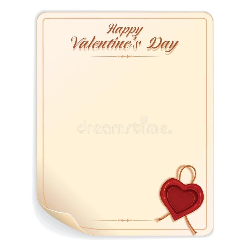 Lettre de jour de valentines avec le joint illustration de vecteur