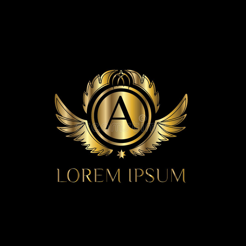 Lettre de luxe un logo Dirigez le signe de calibre de logo, symbole, icône, framem de luxe de vecteur illustration stock
