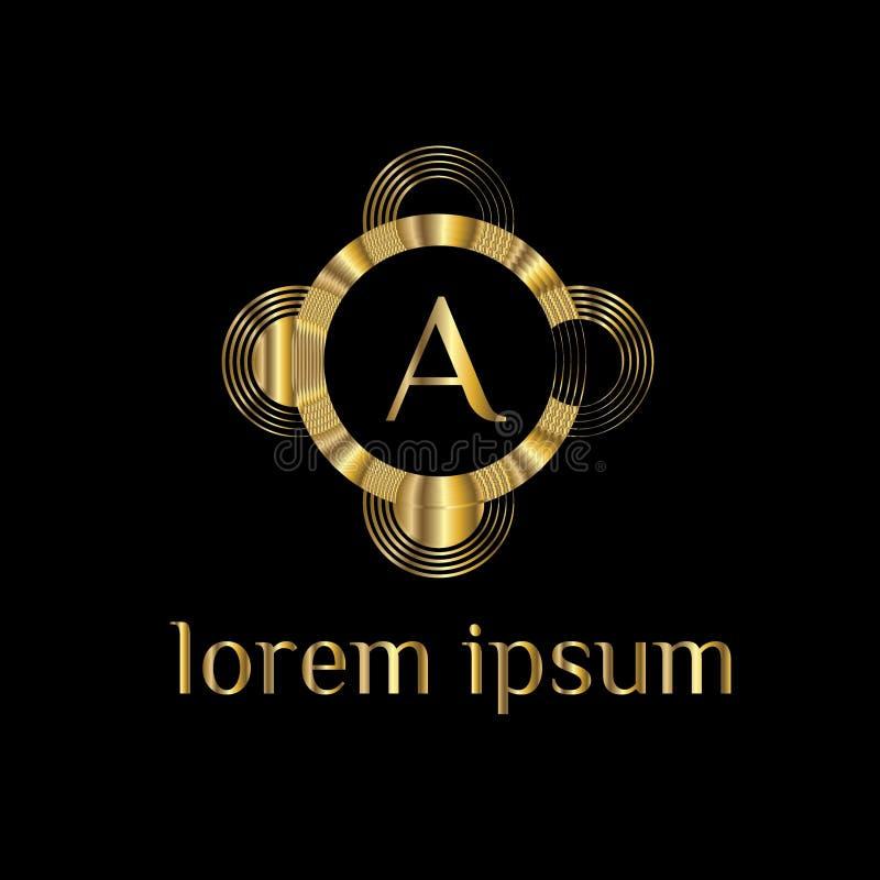 Lettre de luxe un logo Dirigez le signe de calibre de logo, symbole, icône, framemV de luxe de vecteur illustration libre de droits