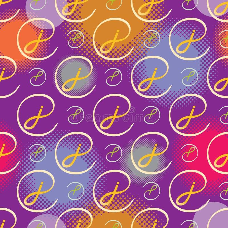 Lettre de modèle sans couture de monogramme J au style - couleurs de pourpre et d'or illustration libre de droits