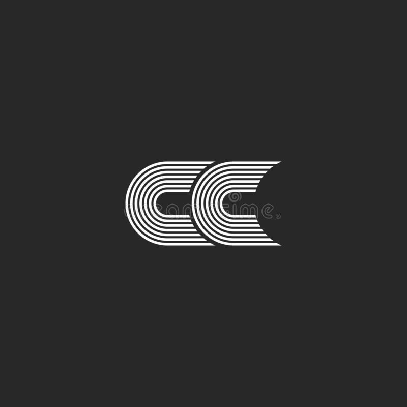 Lettre de monogramme de cc de logo, maquette élégante simple d'emblème de carte l'épousant de deux initiales de C ensemble, ligne illustration de vecteur