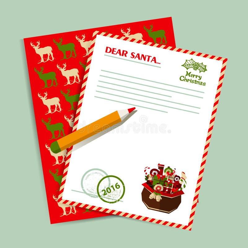 Lettre de Noël à Santa Claus Vecteur illustration de vecteur