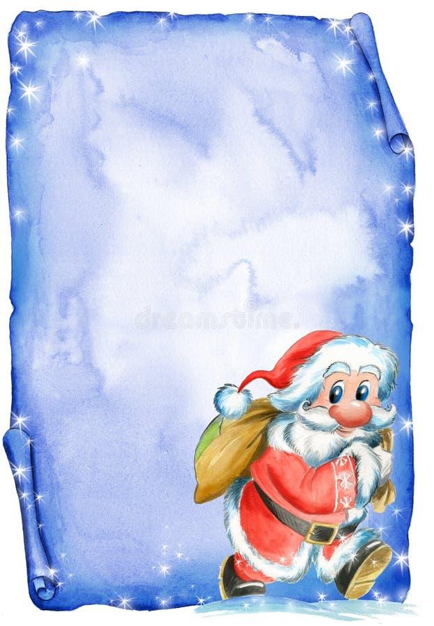 Lettre de Noël avec Santa illustration libre de droits