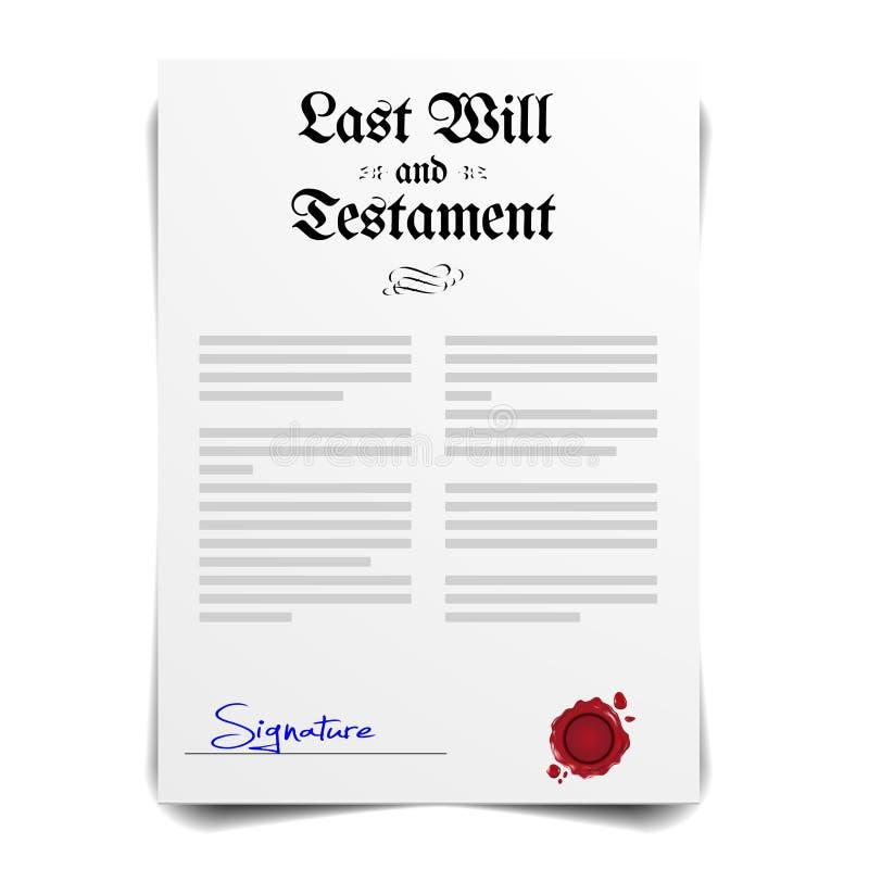 Lettre de testament illustration libre de droits