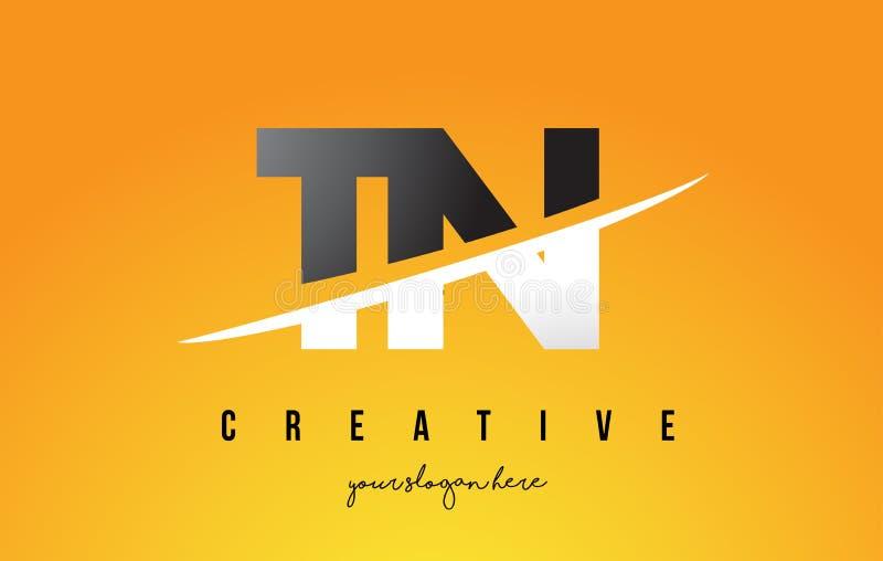Lettre de TN T N Logo Design moderne avec le fond jaune et le Swoo illustration stock
