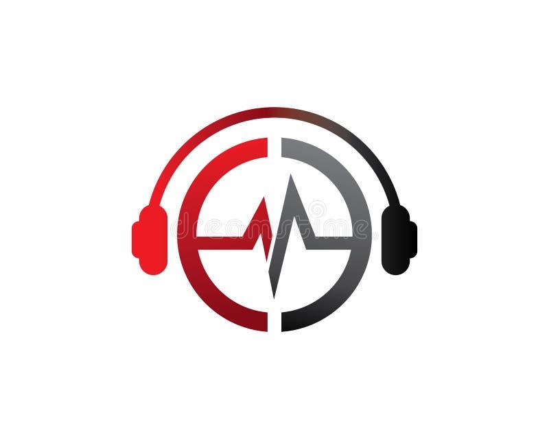Lettre DJ d'E dans le logo d'écouteur illustration libre de droits