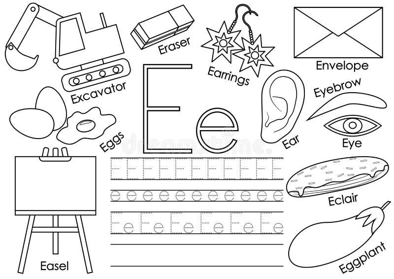 Lettre E Alphabet anglais Jeu éducatif pour des enfants illustration de vecteur