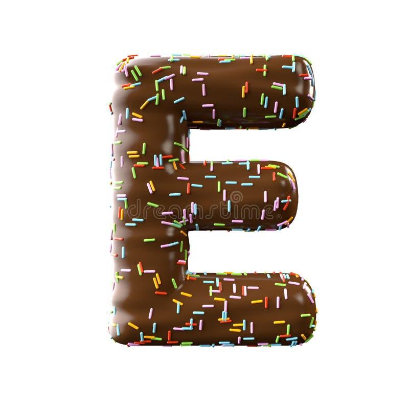 Lettre E de chocolat d'isolement sur le fond blanc illustration stock