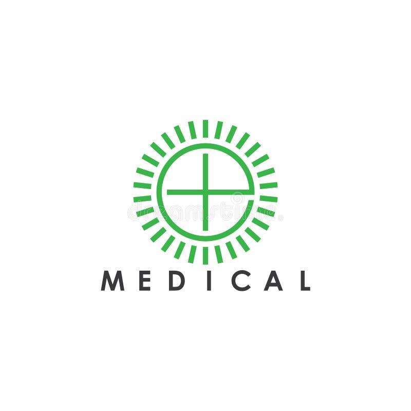 Lettre e plus le logo géométrique simple médical d'éclat illustration de vecteur