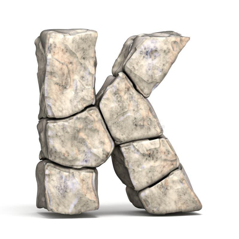 Lettre en pierre K 3D de police illustration de vecteur