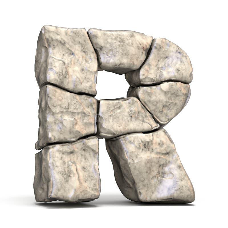Lettre en pierre R 3D de police illustration libre de droits