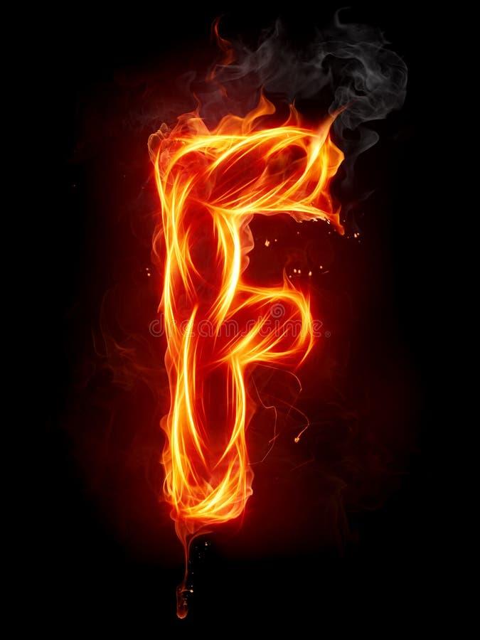 Lettre F d'incendie illustration stock