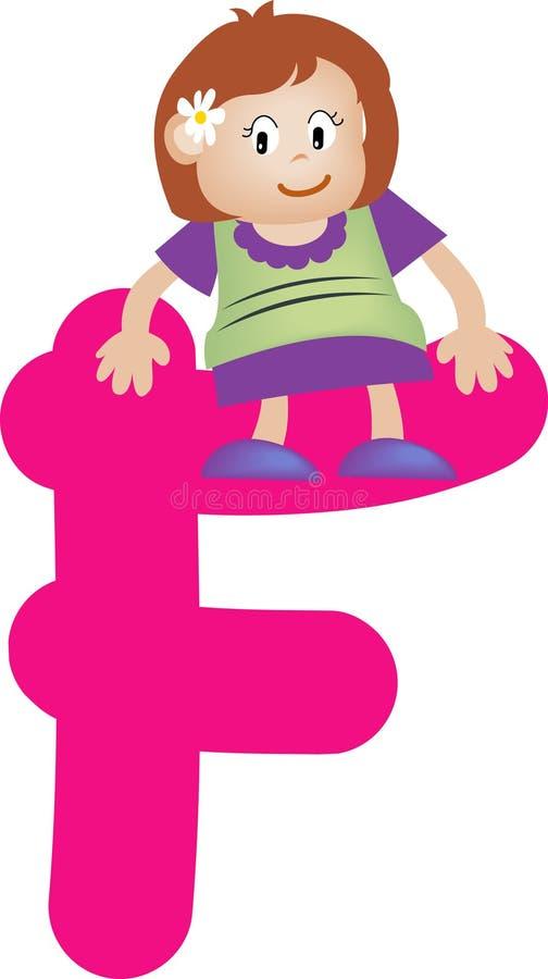 Lettre F (fille) d'alphabet illustration stock