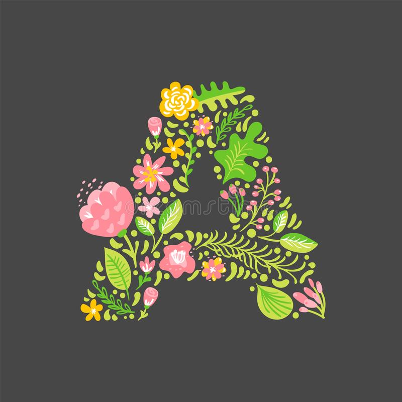 Lettre florale A d'été Alphabet majuscule de mariage capital de fleur Police color?e avec des fleurs et des feuilles Illustration illustration stock