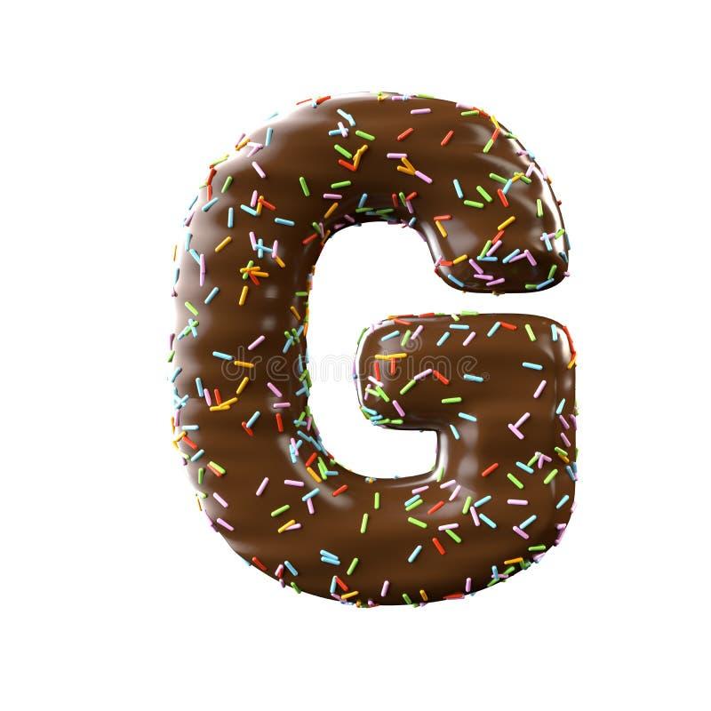 Lettre G de chocolat d'isolement sur le fond blanc illustration libre de droits