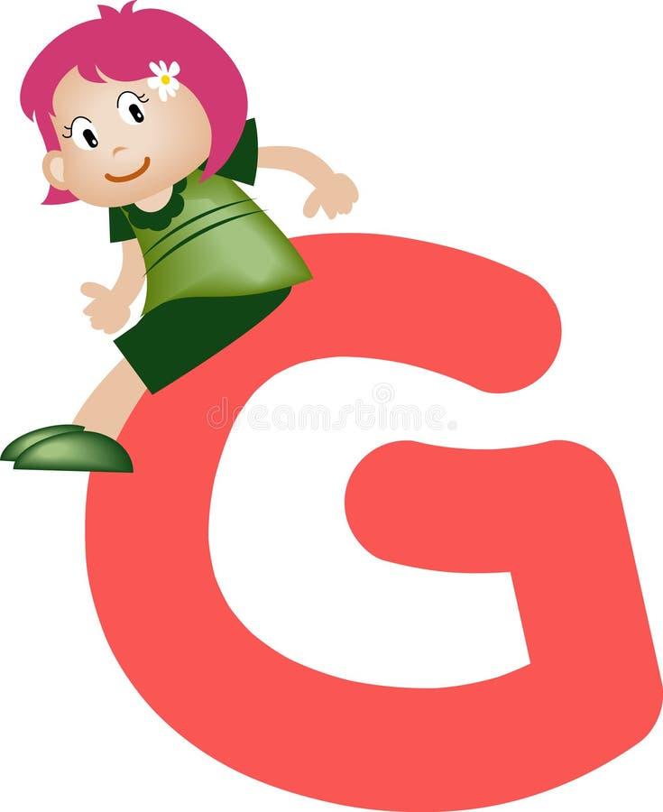 Lettre G (fille) d'alphabet illustration de vecteur