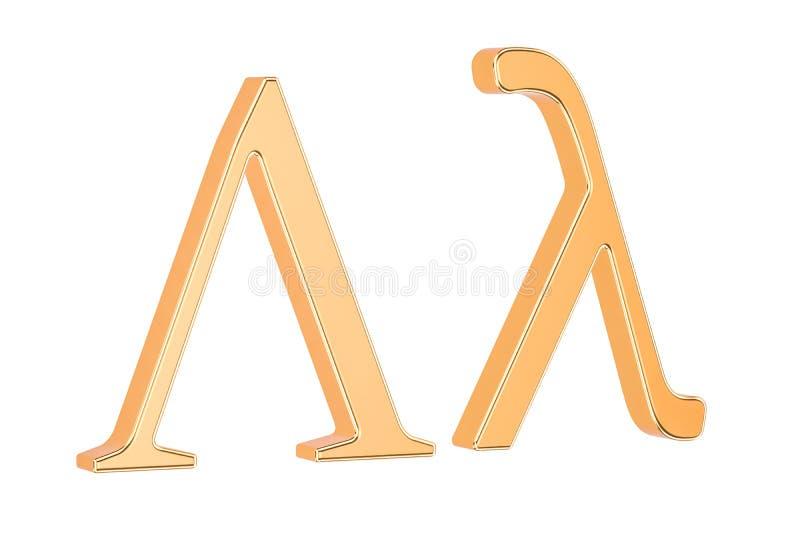 Lettre grecque d'or lambda, rendu 3D illustration de vecteur