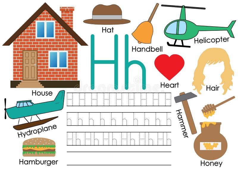 Lettre H Étude de l'alphabet anglais avec des photos Pratique en matière d'écriture illustration de vecteur
