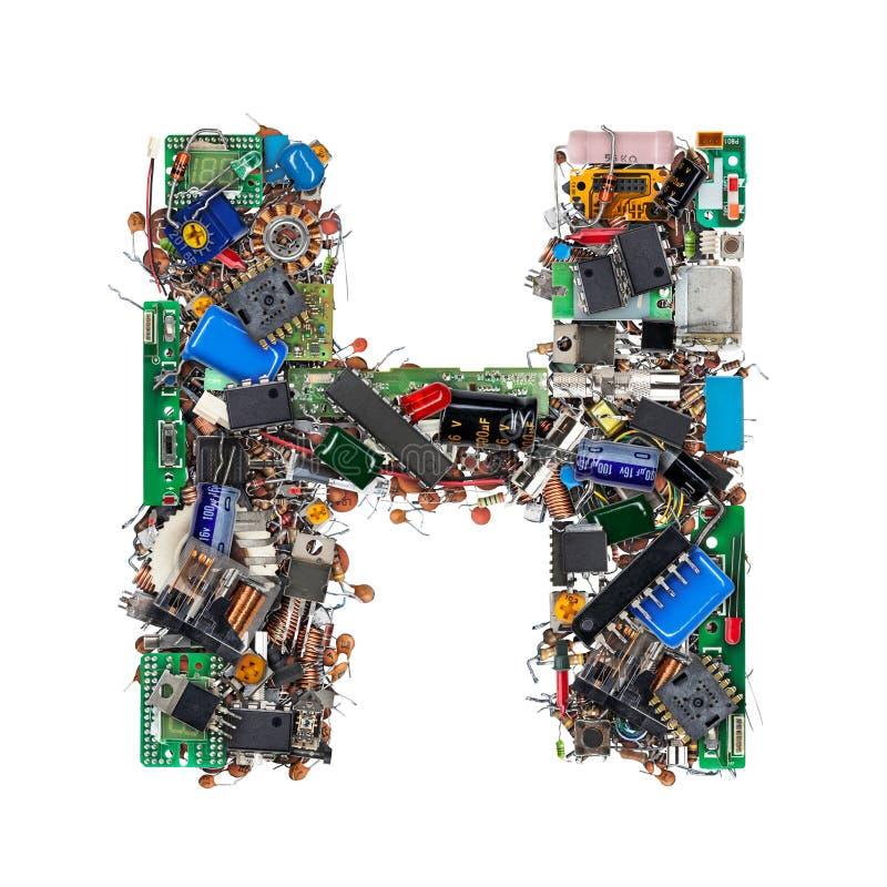 Lettre H faite de composants électroniques image libre de droits