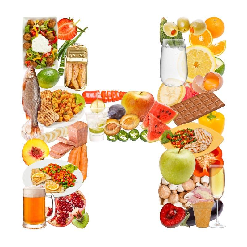 Lettre H faite de nourriture image stock