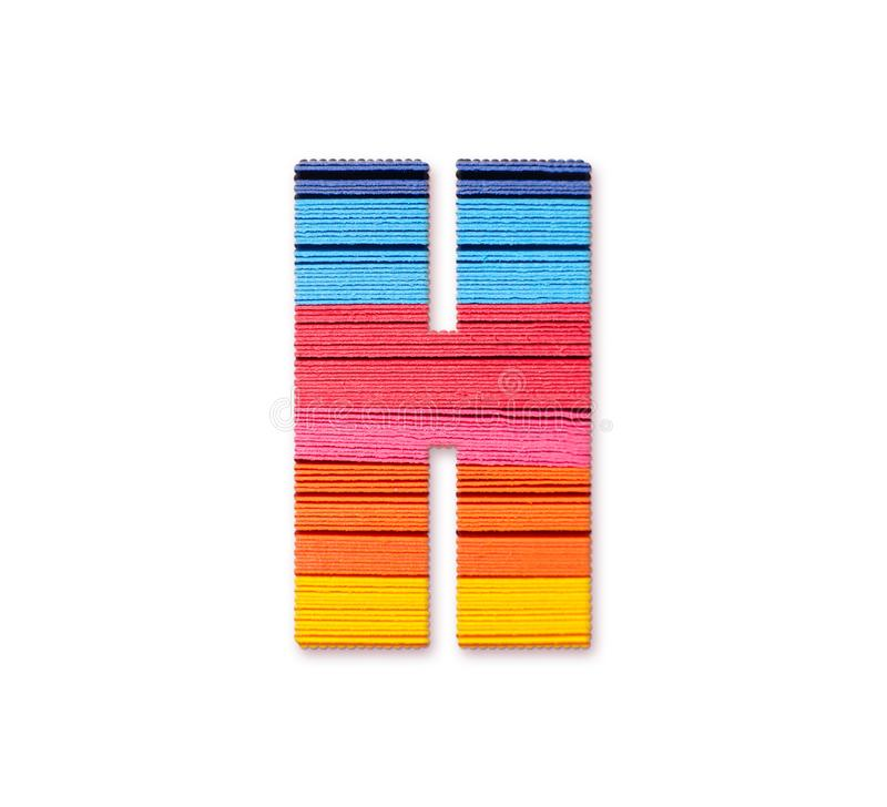 Lettre H Papier de couleur d'arc-en-ciel illustration stock