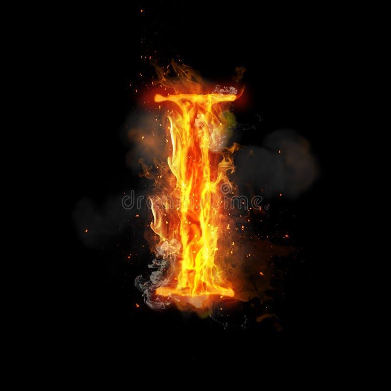 Lettre I du feu de lumière brûlante de flamme illustration de vecteur