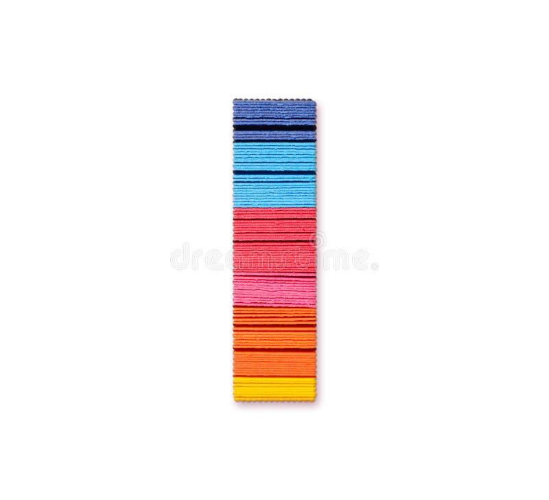 Lettre I Papier de couleur d'arc-en-ciel illustration stock