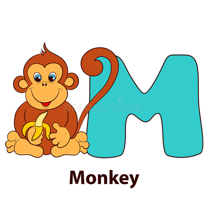 Lettre illustrée M d'alphabet et singe illustration de vecteur