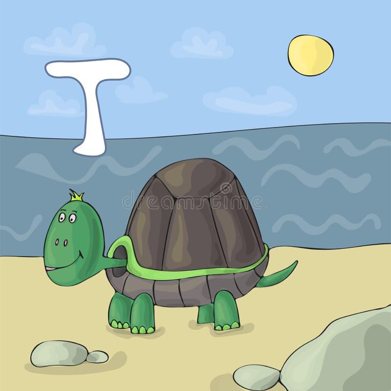 Lettre illustrée T d'alphabet et tortue Bande dessinée de vecteur d'image de livre d'ABC Tortue sur la plage par la mer Enfants i illustration stock
