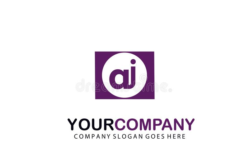 Lettre initiale AJ en cercle Logo Vector Business Design illustration de vecteur