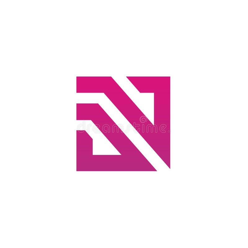 Lettre initiale DN ou emblème de logo de ND, créatif et minimal de style de conception, de D et de N de vecteur illustration stock