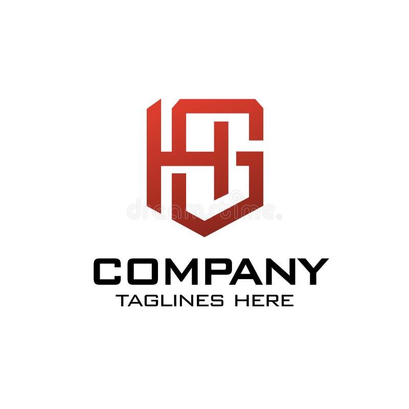 Lettre initiale GH, GH comme logo de bouclier illustration libre de droits