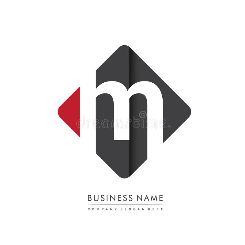 Lettre initiale M Square Logo, d'isolement avec la couleur rouge et noire images libres de droits