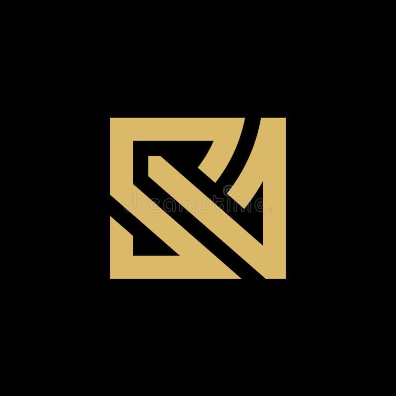 Lettre initiale SA d'or ou COMME Logo Design, d'isolement sur le fond noir - vecteur illustration de vecteur