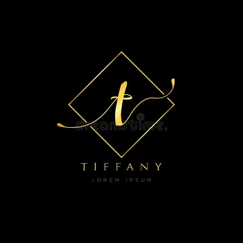 Lettre initiale T Logo Type Design d'élégance simple illustration stock