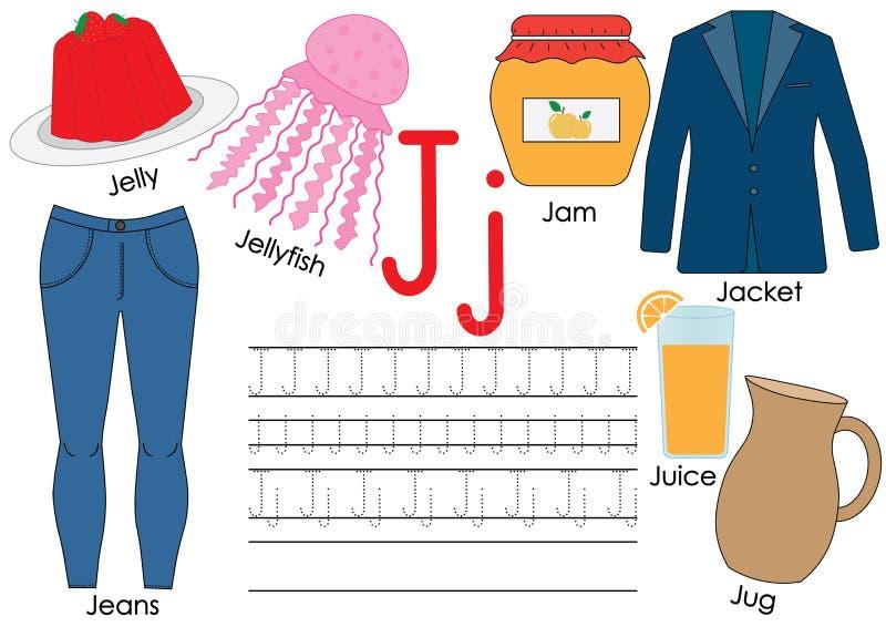 Lettre J Étude de l'alphabet anglais Pratique en matière d'écriture illustration stock