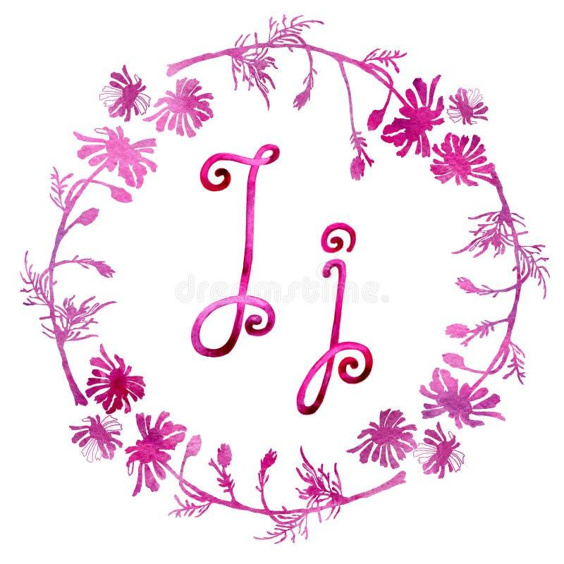 Lettre J d'alphabet anglais, d'isolement sur un fond blanc, dans un cadre élégant, manuscrit Retrait d'aquarelle Pour la concepti illustration libre de droits