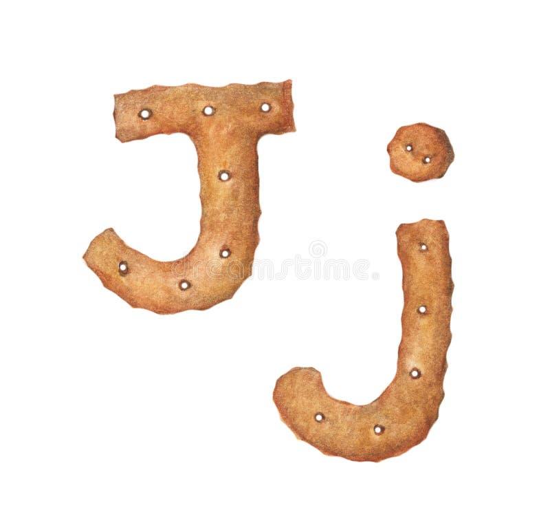 Lettre J de biscuit sur le fond blanc Police de biscuit Signe ABC de nourriture images stock