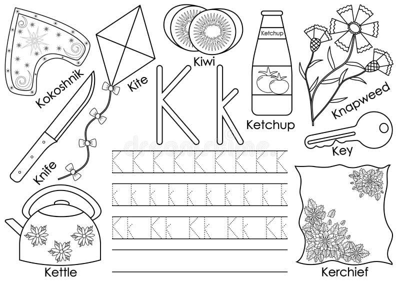 Lettre K Alphabet anglais Inscription de la pratique et du livre de coloriage illustration stock