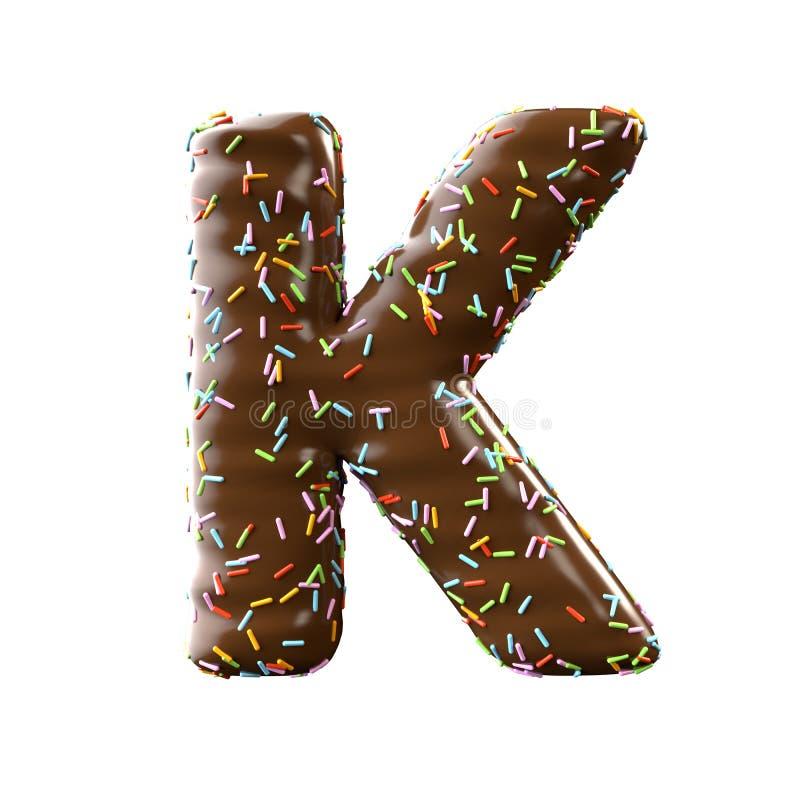 Lettre K de chocolat d'isolement sur le fond blanc illustration de vecteur
