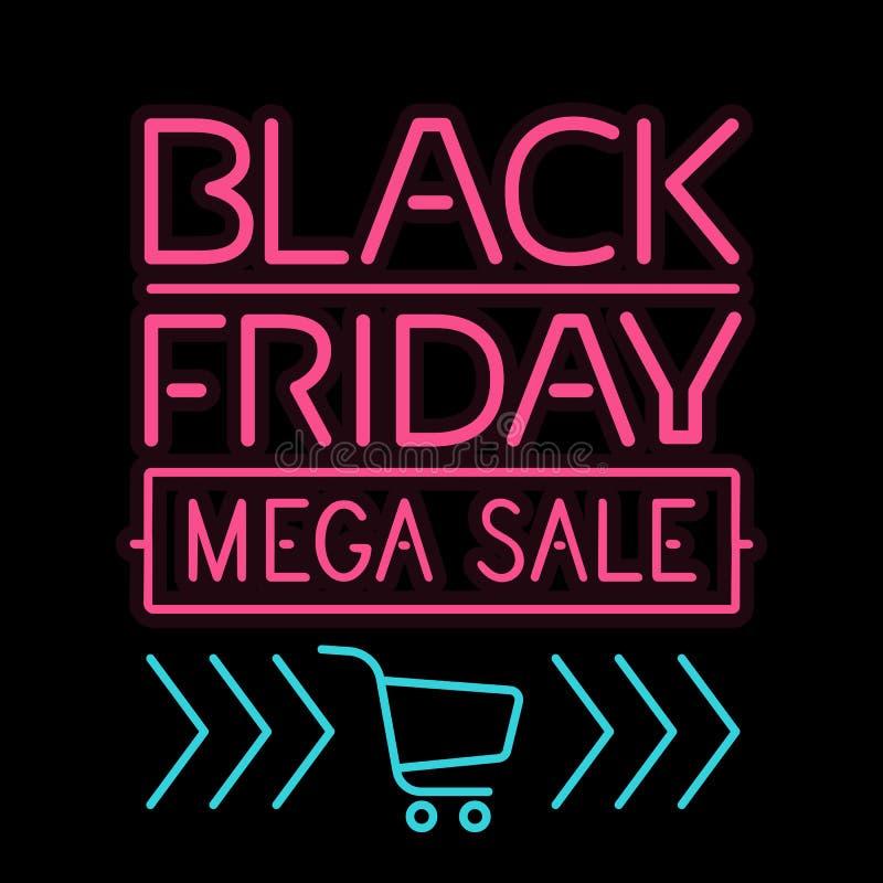 Lettre légère rougeoyante d'affiche de Black Friday sur le noir illustration de vecteur