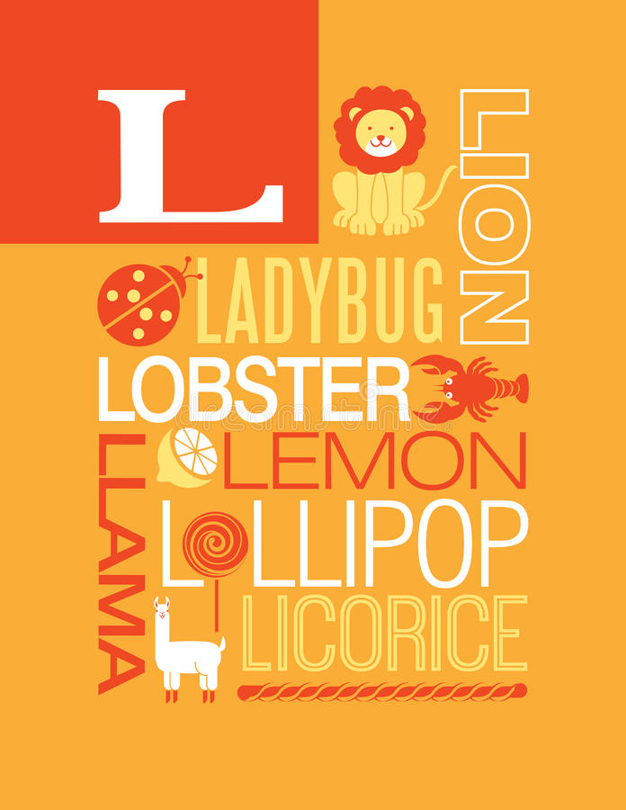 Lettre L conception d'affiche d'alphabet d'illustration de typographie de mots illustration de vecteur