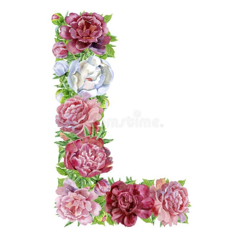 Lettre L des fleurs d'aquarelle photos stock