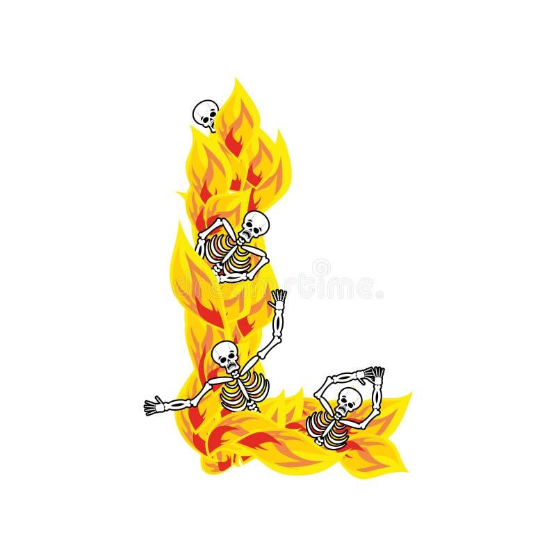 Lettre L police atroce de flammes et de pécheurs lettrage ardent impliquez illustration stock