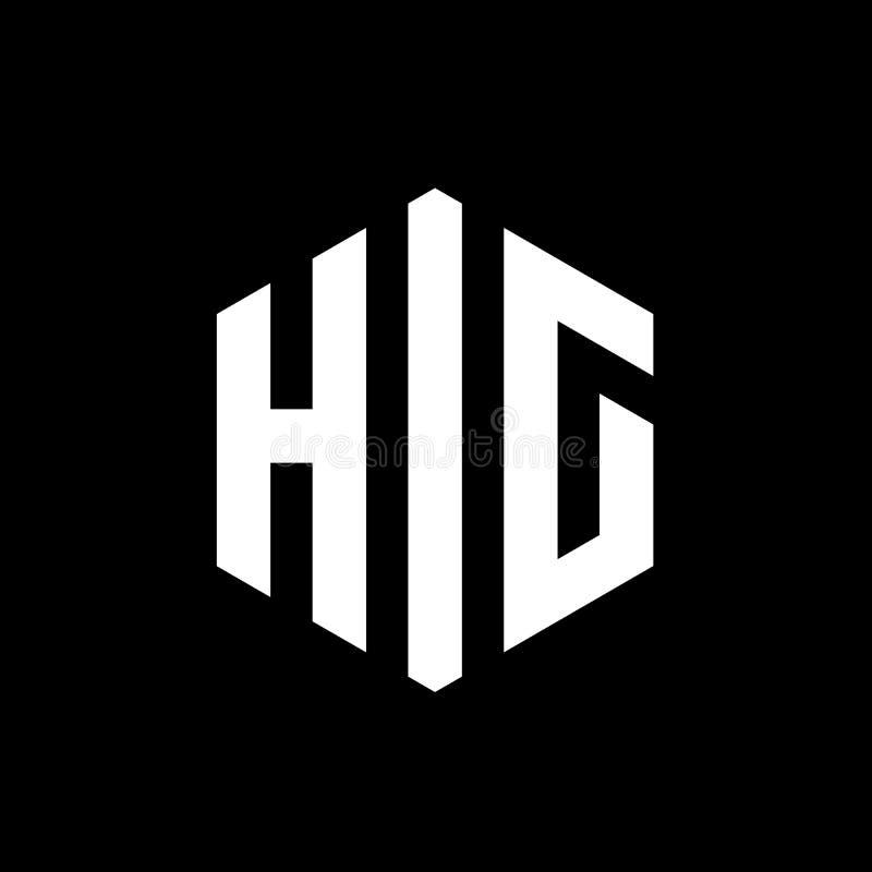 Lettre Logo Concept, vecteur hexagonal Logo Emblem de HIG, blanc sur le fond noir illustration libre de droits