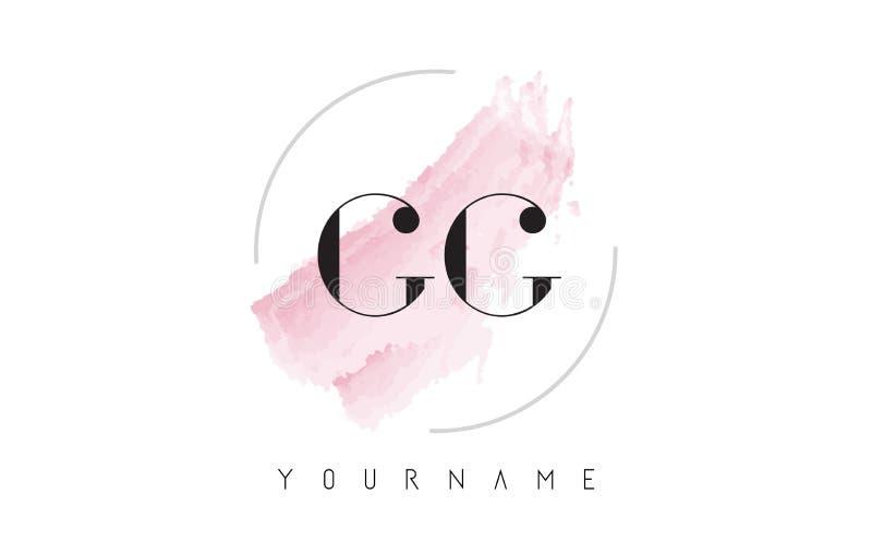 Lettre Logo Design d'aquarelle de GG G G avec le modèle circulaire de brosse illustration libre de droits